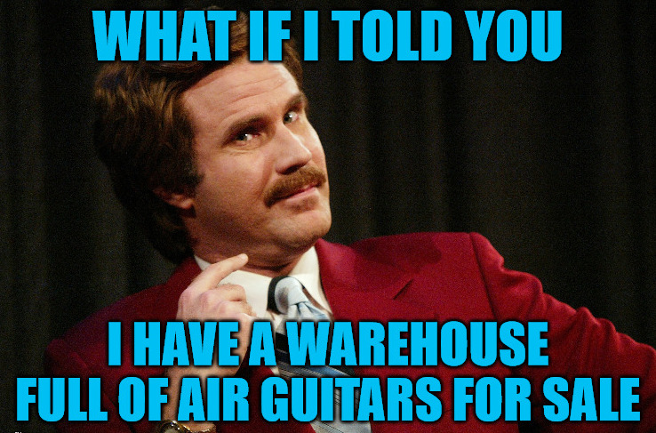 Ron Burgundy selling Air Guitars